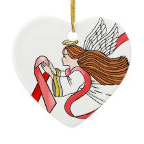 """AIDS """"Red Ribbon"""" Awareness Angel Ceramic Ornament"""