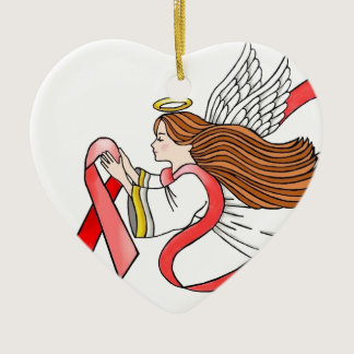 "AIDS ""Red Ribbon"" Awareness Angel Ceramic Ornament"