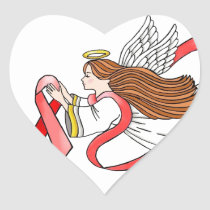 "AIDS ""Red Ribbon"" Awareness Angel Heart Sticker"