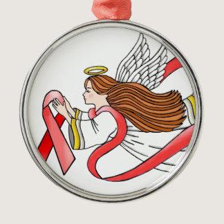 """AIDS """"Red Ribbon"""" Awareness Angel Metal Ornament"""