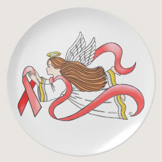 """AIDS """"Red Ribbon"""" Awareness Angel Plate"""