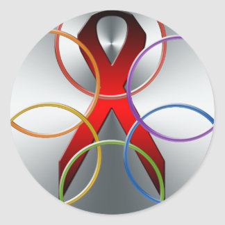 AIDS RED RIBBON COLOR GRAPHIC SYMBOL CLASSIC ROUND STICKER