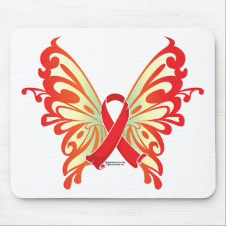 AIDS Ribbon Butterfly Mouse Pad