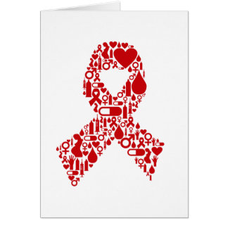Aids Ribbon Icon Awareness Card