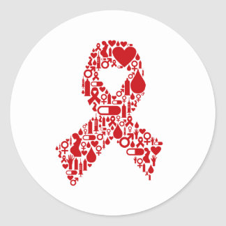 Aids Ribbon Icon Awareness Classic Round Sticker