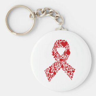 Aids Ribbon Icon Awareness Keychain