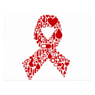 Aids Ribbon Icon Awareness Postcard