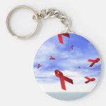 Aids Ribbons Floating in the Sky Key Chains