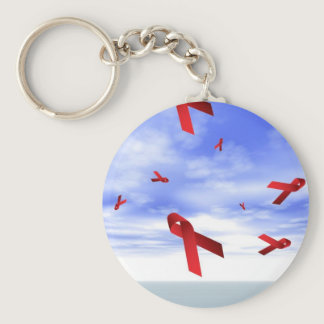 Aids Ribbons Floating in the Sky Keychain