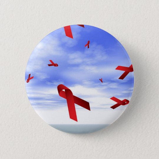 Aids Ribbons Floating in the Sky Pinback Button