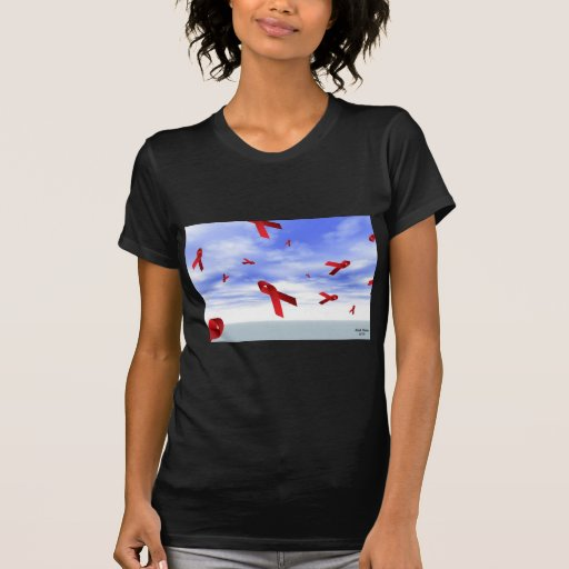 Aids Ribbons Floating in the Sky T-shirts