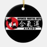Aikido 2 adorno navideño redondo de cerámica