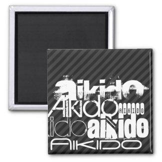 Aikido; Black & Dark Gray Stripes 2 Inch Square Magnet
