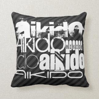 Aikido; Black & Dark Gray Stripes Pillows