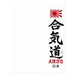 Aikido Kanji Japanese Navel Flag Postcard