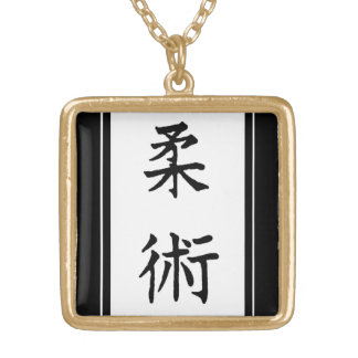 AIKIDO MMA KARATE BLACK GOLD PLATED NECKLACE