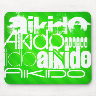 Aikido; Neon Green Stripes Mouse Pad