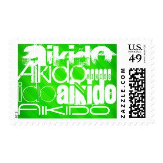 Aikido; Neon Green Stripes Postage