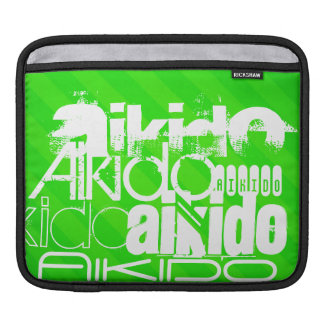 Aikido; Neon Green Stripes Sleeves For iPads