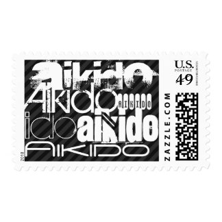 Aikido; Rayas negras y gris oscuro Estampilla