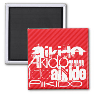 Aikido; Scarlet Red Stripes 2 Inch Square Magnet