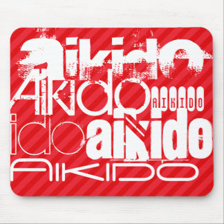 Aikido; Scarlet Red Stripes Mouse Pad