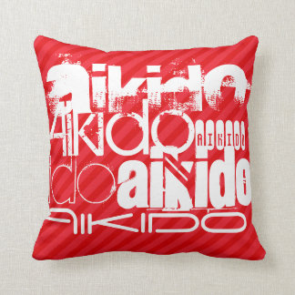 Aikido; Scarlet Red Stripes Pillow