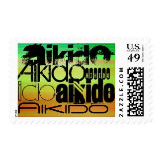 Aikido; Verde vibrante, naranja, y amarillo Estampillas