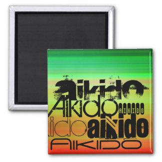 Aikido; Vibrant Green, Orange, & Yellow 2 Inch Square Magnet