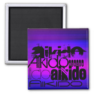 Aikido; Vibrant Violet Blue and Magenta 2 Inch Square Magnet