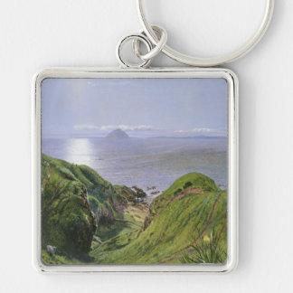 Ailsa Craig y la isla de Arran, Escocia Llavero Cuadrado Plateado