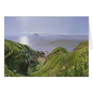 Ailsa Craig y la isla de Arran, Escocia Tarjeta De Felicitación
