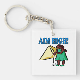 Aim High Double-Sided Square Acrylic Keychain