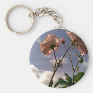 Aiming at the sky basic round button keychain