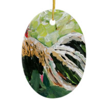 Ainsley the Rooster just for you full of color Ceramic Ornament
