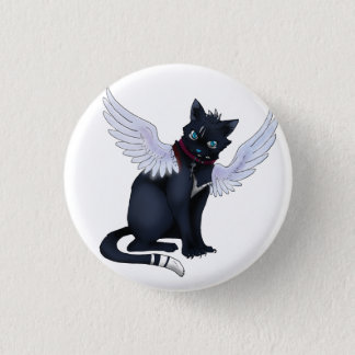 aint no angel cat badge pinback button