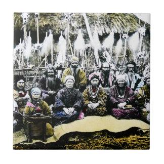 Ainu People of Northern Japan Vintage Vilage Life Ceramic Tile