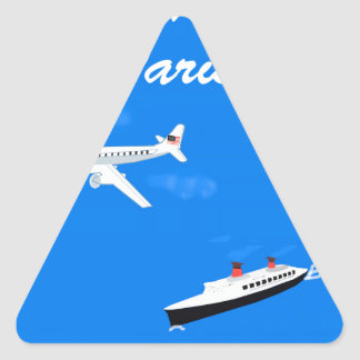 Air and ship Vintage Travel Triangle Sticker