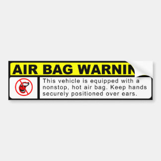 AIR BAG WARNING BUMPER STICKER