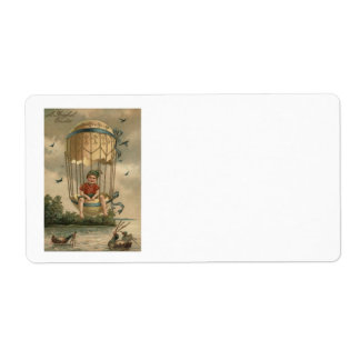 Air Balloon Easter Colored Painted Egg Duck Shipping Label