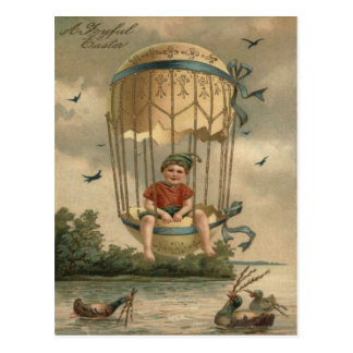 Air Balloon Easter Colored Painted Egg Duck Postcard