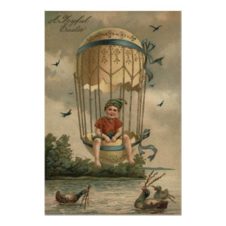 Air Balloon Easter Colored Painted Egg Duck Poster
