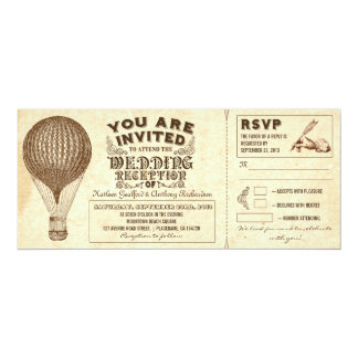 air balloon vintage typography wedding reception card