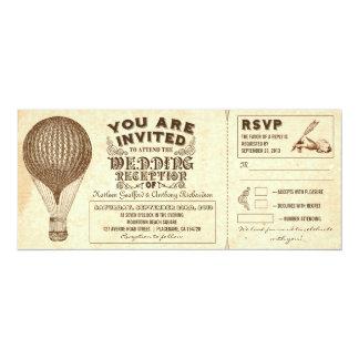 "air balloon vintage typography wedding reception 4"" x 9.25"" invitation card"