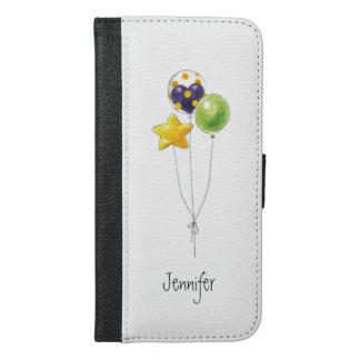 Air Balloon Watercolor Illustration Monogram Name iPhone 6/6s Plus Wallet Case