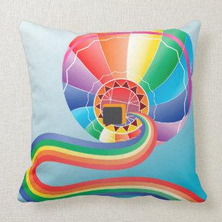 Air balloon with rainbow 2 throw pillow