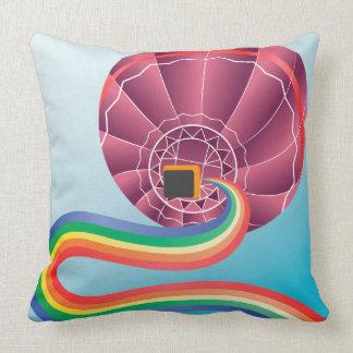 Air balloon with rainbow throw pillow