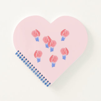Air Balloons Heart Spiral Notebook