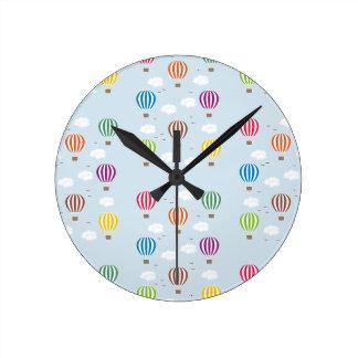 Air Balloons Pattern Round Clock