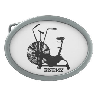 Air Bike Enemy - Black Silhouette Oval Belt Buckle